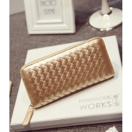 Braided Clutch Wallet Import BG784 Gold