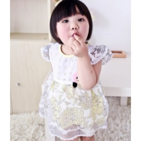 GAUZE KIDS DRESS IMPORT KD26 YELLOW