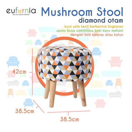 Mushroom Stool Procella (DIAMOND ORANGE HITAM)