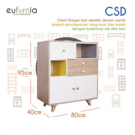 Olympic Curla Series Chest Drawer/Laci Tempat Penyimpanan Scandinavian Style