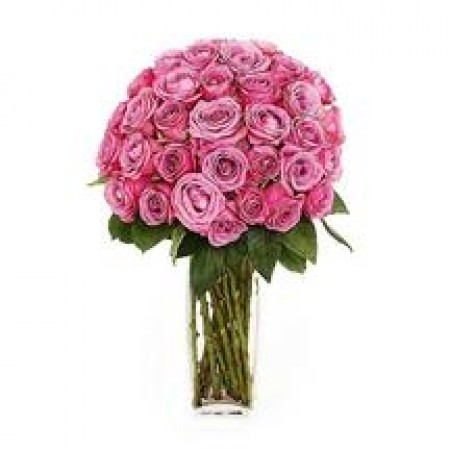 3 Dozen Of Pink Roses In A Vase