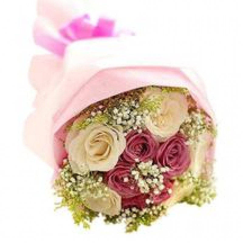 9 Stems Of Pink And White Roses