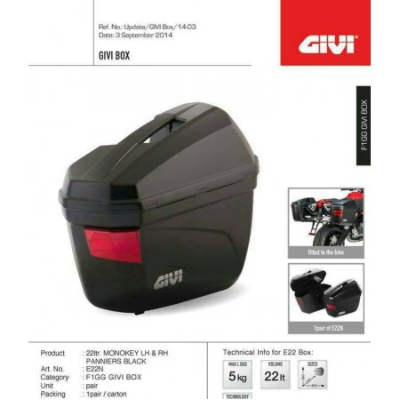 Box Motor Samping Sidebox Givi e22 bonus sbl2000 ori