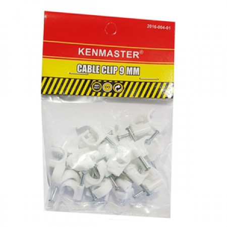 Kenmaster Cable Clip 9mm isi 35 pcs - Klem Kabel