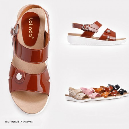 Bendista Glossy Ankle Strap Sandals