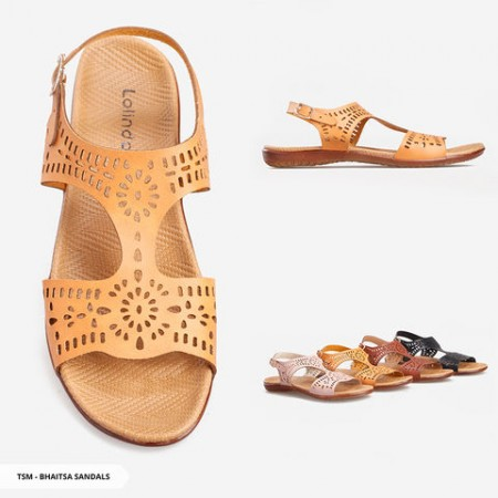 Bhaitsa Perforated Strappy Sandals