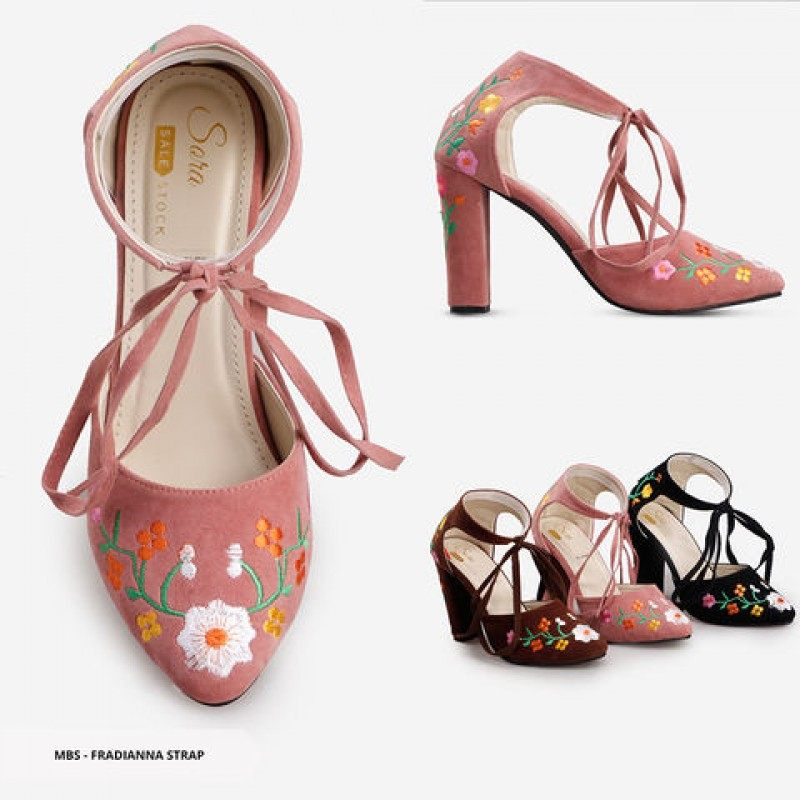 Fradianna Flowery Ankle Strap Heels