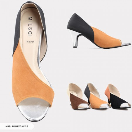 Ryumiyo Two Tone Open-Toe Heels