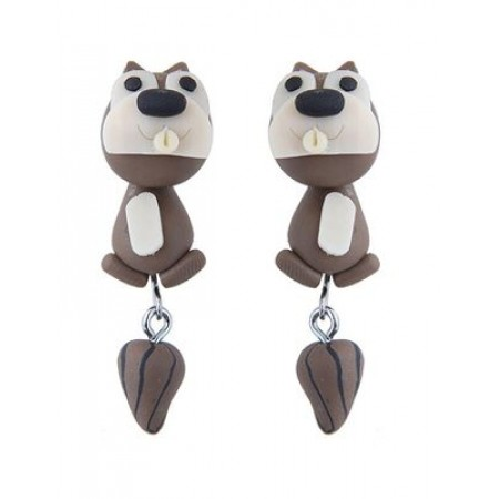 cartoon squirrel shape design earrings coffee