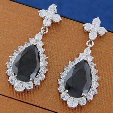 cz diamond decorated water drop shape design