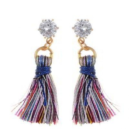 diamond tassel earrings multi color