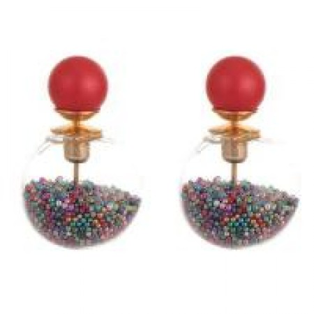 dior beads transparent ball earrings