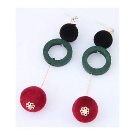 forever21 real wood round long chain earrings greenred